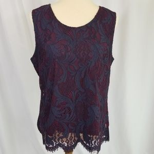 Solitaire wine and navy lace sleeveless blouse